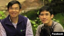 Former Radio Free Asia reporters Oun Chhin and Yeang Sothearin. (Courtesy of Comfrel)