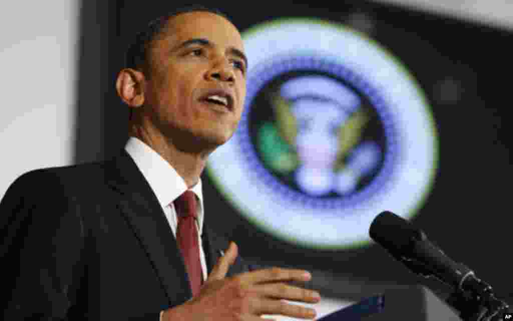 U.S. President Barack Obama speaks about the conflict in Libya during an address at the National Defense University in Washington, March 28, 2011.