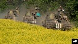 Kendaraan lapis baja milik Ukraina bersiaga di wilayah Donetsk, Ukraina timur (Foto: dok).