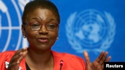U.N. humanitarian chief Valerie Amos speaks at a news conference on Ebola at the United Nations in Geneva, Sept. 16, 2014.