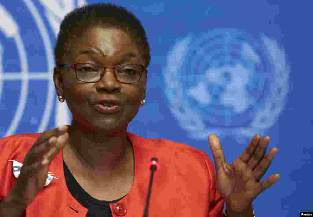 Valerie Amos speaking at a news conference on Ebola at the United Nations in Geneva, Sept. 16, 2014.