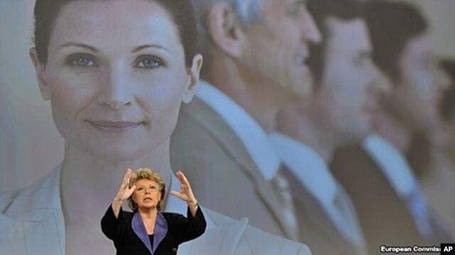 EU commissioner Viviane Reding addresses media on gender equality, Brussels, March 5, 2012.