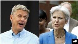 جیل اشتاین (راست) نامزد حزب سبز امریکا و گَری جانسن (چپ) نامزد حزب آزدیخواه