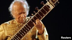 Indian sitar player Ravi Shankar performs in Kolkata, India, on Feb. 7, 2009.