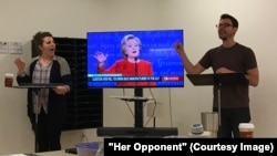 "Actors practicing for new show, ""Her Opponent."""