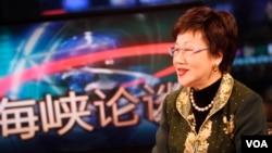 台湾前副总统吕秀莲2013年4月11日接受美国之音专访(美国之音常晓拍摄)