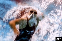 An underwater camera shows Katie Ledecky of the U.S. competing at the 2017 FINA World Championships in Budapest, July 2017.