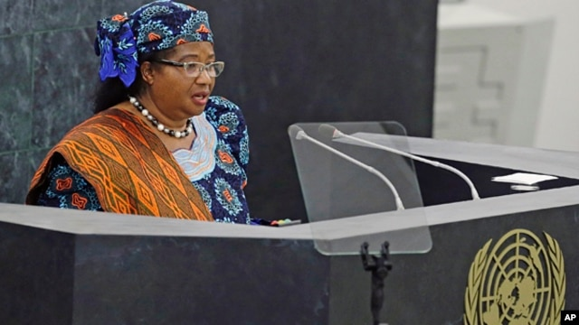 FILE - Malawi President Joyce Hilda Mtila Banda addresses the 68th session of the United Nations General Assembly.