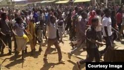FILE – Demonstrators gather in the Ethiopian town of Shakiso to oppose MIDROC gold mining operations in February 2016. They contend chemicals used in mining jeopardize public health. (Courtesy photo)