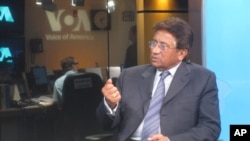 Former Pakistani President Pervez Musharraf during an interview at VOA, Jul 21, 2011