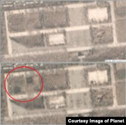 지난해 11월21일(위)과 11월27일을 찍은 '플래닛'의 위성사진. 아래 사진에서 차량들이 들어선 모습(붉은 원 안)이 확인된다. (사진제공=Planet)