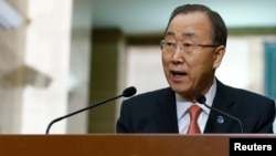 United Nations Secretary-General Ban Ki-moon addresses a news conference at the U.N. European headquarters in Geneva, Switzerland, Feb. 29, 2016.