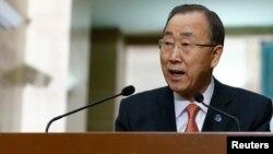 United Nations Secretary-General Ban Ki-moon addresses a news conference at the U.N. European headquarters in Geneva, Switzerland, Feb. 29, 2016.