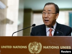 FILE - United Nations Secretary-General Ban Ki-moon addresses a news conference at the U.N. European headquarters in Geneva, Switzerland, Feb. 29, 2016.