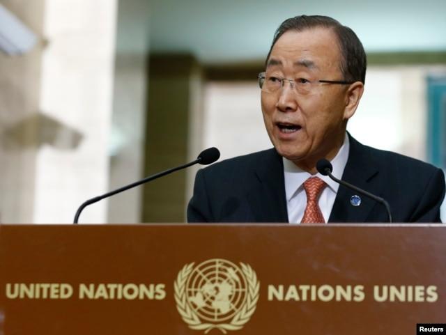 FILE - United Nations Secretary-General Ban Ki-moon addresses a news conference at the U.N. European headquarters in Geneva, Switzerland, Feb. 29, 2016.