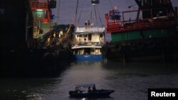 2일 홍콩 람마섬 인근 해상에서 일어난 선박 충돌 사고.
