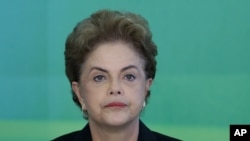 La présidente du Brésil Dilma Rousseff, le 11 mars 2016. (AP Photo/Eraldo Peres)