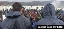 Bihać - Refugees and migrants protesting in camp Lipa during winter time - January 3rd 2021
