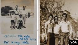Hình bên trái: Tết Kỷ Hợi 1959 ở Long Hải, Phước Lễ. Tác giả đứng bên phải, cạnh anh con bác và thân phụ đứng sau cùng với người bác. Hình bên phải: Tác giả, bên trái, cùng hai bạn bên những cành mai tại chợ hoa Nguyễn Huệ năm 1975 (Ảnh gia đình)