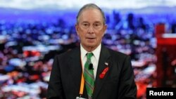 FILE - Michael Bloomberg, the U.N. Special Envoy for Cities and Climate Change speaks at the C40 Mayors Summit at a hotel in Mexico City, Mexico, Dec. 1, 2016.