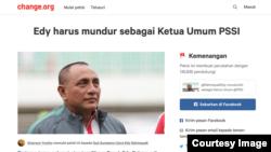 """Petisi """"Edy Harus Mundur"""" mencapai kemenangan setelah didukung 135 ribu orang. Petisi ini dibuat sejak Edy terpilih menjadi Gubernur Sumatera Utara pertengahan 2018."""