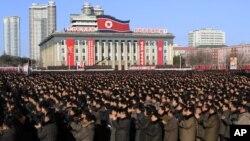 지난 5일 평양 김일성 광장에서 김정은 국방위원회 제1위원장이 신년사에서 제시한 과업을 관철하기 위한 대규모 군중대회가 열렸다.