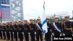 6月份莫斯科武器展中的俄羅斯海軍儀仗隊 (美國之音白樺拍攝)