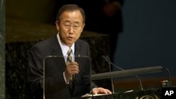United Nations Secretary General Ban Ki-moon delivers his address at the Millennium Development Goals Summit at the United Nations in New York, 20 Sep 2010.