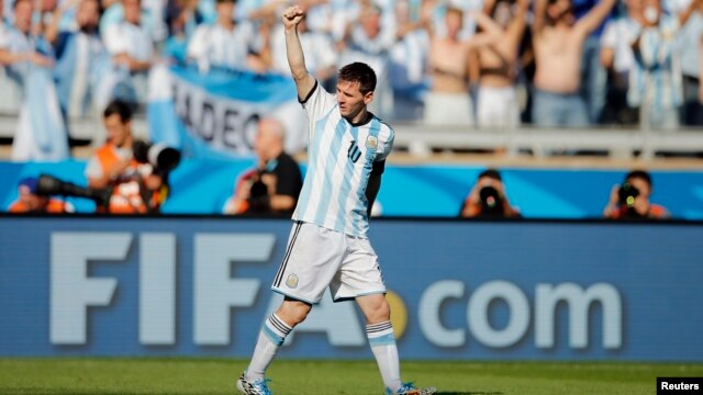 Argentina's Lionel Messi celebrates after scoring against Iran during their 2014 World Cup Group F soccer match at the Mineirao stadium in Belo Horizonte June 21, 2014.