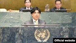 چودھری نثار جنرل اسمبلی کے خصوصی اجلاس سے خطاب کر رہے ہیں۔