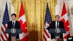 نشست خبری روز دوشنبه ۲۵ بهمن رئیس جمهوری آمریکا و نخست وزیر کانادا.