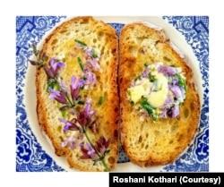 Photographer and gardener Roshani Kothari mixes sage flowers with butter to put on top of bread. (Photo: Roshani Kothari)