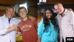 Larry London pictured with Scotty McCreery on the left, and Candice Glover on the right