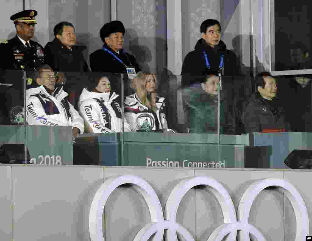 From front row left, South Korean President Moon Jae-in, his wife, Kim Jung-sook, and Ivanka Trump, U.S. President Donald Trump's daughter, watch the closing ceremony of the 2018 Winter Olympics along with Kim Yong Chol, vice chairman of North Korea's ruling Workers' Party Central Committee, standing third from back row left, in Pyeongchang, South Korea, Feb. 25, 2018.