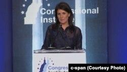 خانم هیلی پنجشنبه شب در نشست هماهنگی اعضای حزب جمهوریخواه کنگره آمریکا در ایالت ویرجینای غربی سخنرانی کرد.