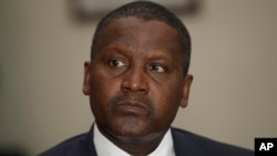 FILE - Nigerian billionaire businessman Aliko Dangote.