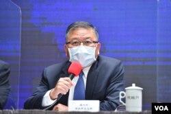 台湾国防部副部长张冠群出席1月7日上午的行政院院会后记者会。(台湾行政院提供)