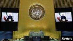Presiden Iran Hassan Rouhani dalam pidato di hadapan Sidang Umum PBB ke-75 yang dilakukan secara virtual karena pandemi virus corona, di New York, Selasa, 22 September 2020. (Foto: Reuters)