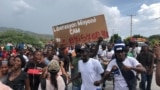 Protesters in Titanyen, a town near Port-au-Prince, Haiti, take to the streets Oct. 19, 2021, to demand the release of the 17 missionaries who were kidnapped by the 400 Mawozo gang on Saturday. (Matiado Vilme / VOA Creole)