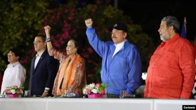 Daniel Ortega, durante un encuentro con los Cancilleres del ALBA, el 9 de noviembre de 2018.