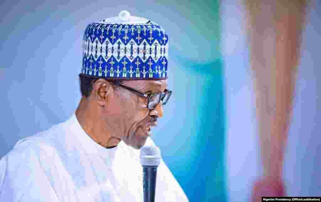 Shugaba Buhari yayin da yake jawabi a taron Shugabannin Jam'iyyar APC a Abuja