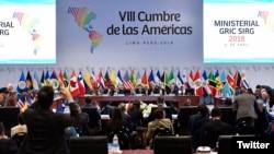 Cancilleres de las Américas concluyen negociaciones sobre documento de compromiso que firmarán jefes de estado y de gobierno en la VIII Cumbre de las Américas. Lima, Perú 13 de abril de 2018. Foto: @CancilleriaPerú