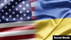 美國國旗和烏克蘭國旗。