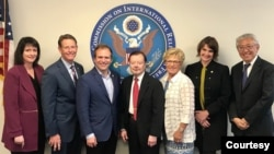 Members of the U.S. Commission on International Religious Freedom (from left): Nadine Maenza, Tony Perkins, Johnnie Moore, Gary Bauer, Gayle Manchin, Kristina Arriaga and Tenzin Dorjee. (USCIRF)