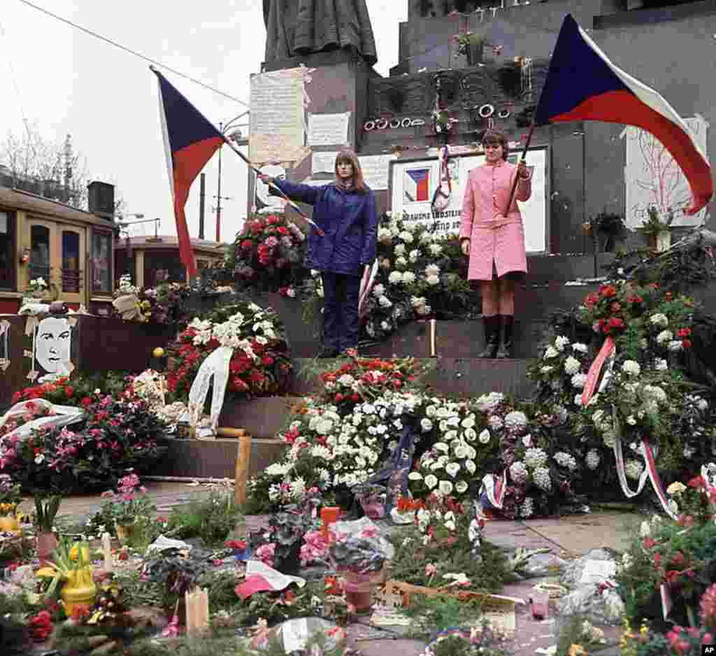 People of what was then Czechoslovakia pay tribute 24 January 1969 at Wenceslas square downtown Prague to Jan Palach, the day before his funeral. Palach, Czech student, burned himself to death in January 1969 to protest the Soviet occupation of his count