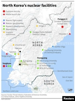 A map locating North Korea's nuclear facilities.
