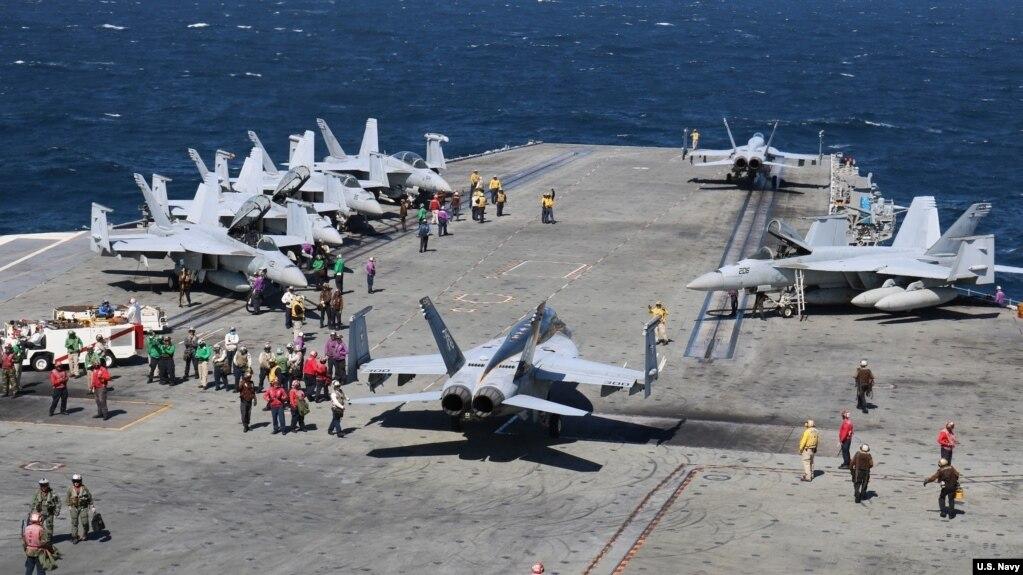 Ảnh tư liệu - phi cơ chiến đấu chuẩn bị cất cánh từ soái hạm USS Ronald Reagan ngày 10/09/2016