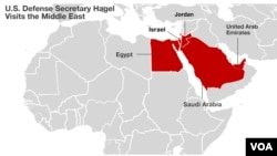 U.S. Defense Secretary Chuck Hagel's stops on his five-nation tour of the MIddle East.