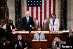 美國國會被暴力闖入後當日恢復秩序 副總統彭斯與議長佩洛西主持參眾兩院聯會(路透社2021年 1月6日)