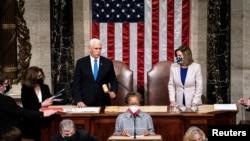 美國國會被暴力闖入後當日恢復秩序副總統彭斯與議長佩洛西主持參眾兩院聯會(路透社2021年1月6日)